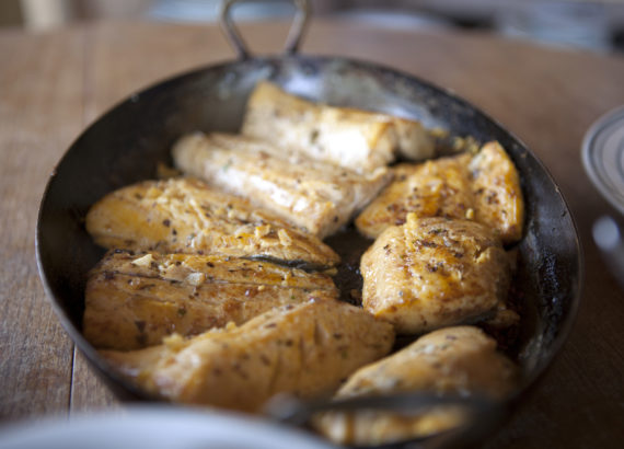 Lightly fried arctic char fillets