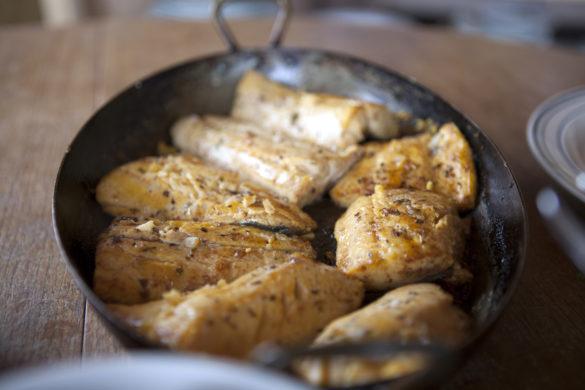 Lightly fried arctic char fillets